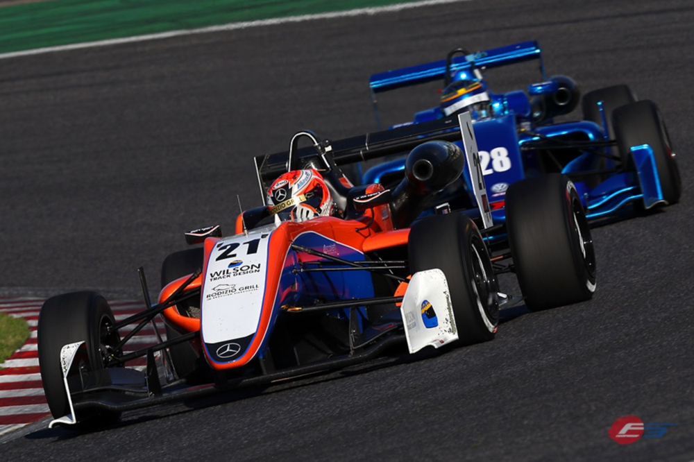 Bruno Carneiro (AlbirexRT Dallara-Mercedes) on his way to a P7 Finish in Suzuka May 2017