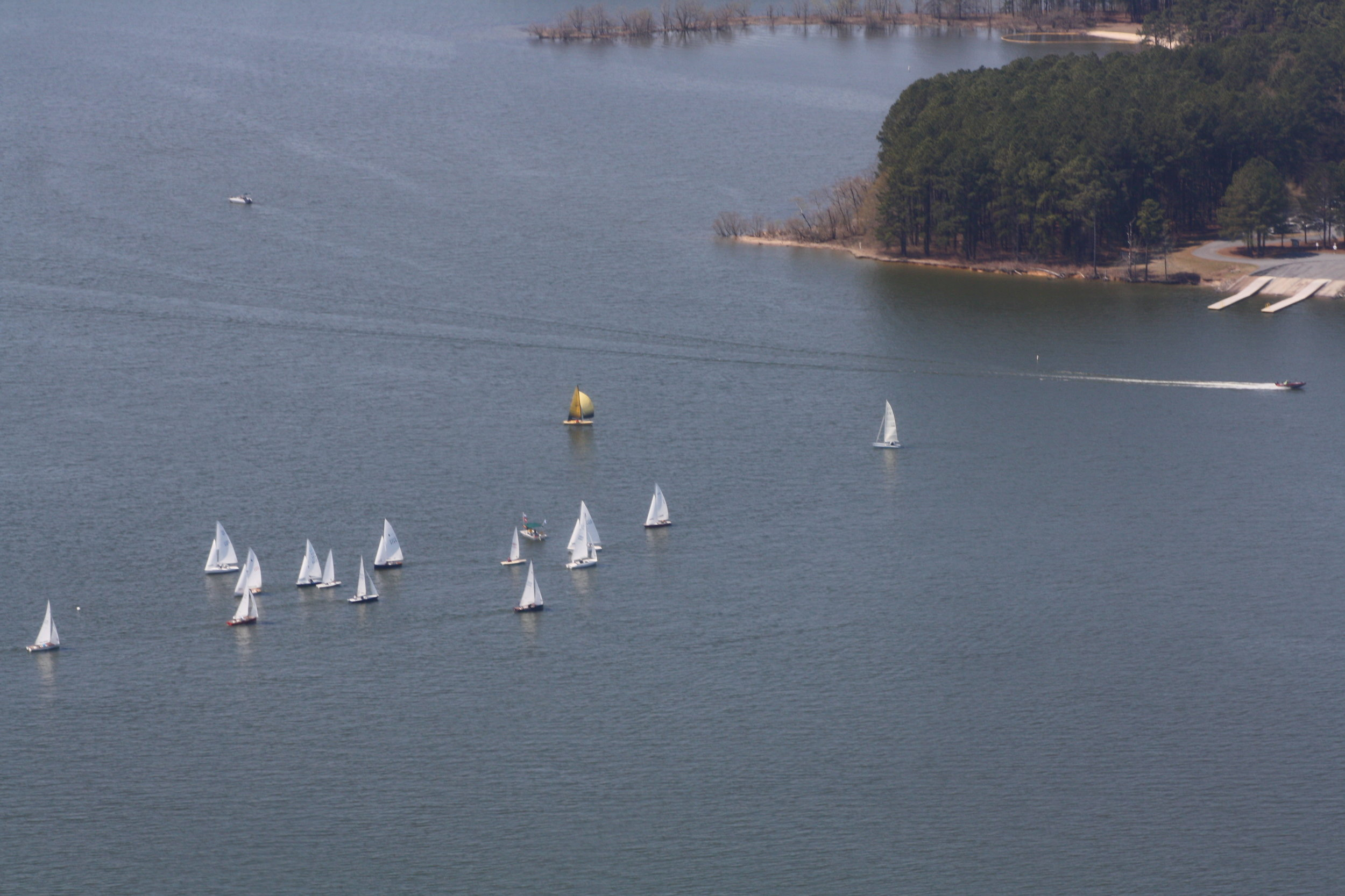Sailboats on Jordan Lake, NC taken from a helicopter