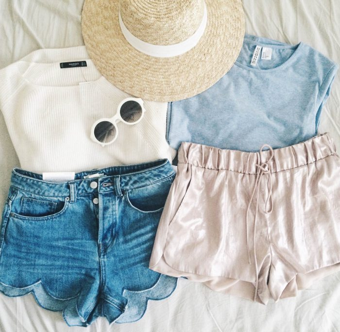 Mango-metallic-shorts-outfit