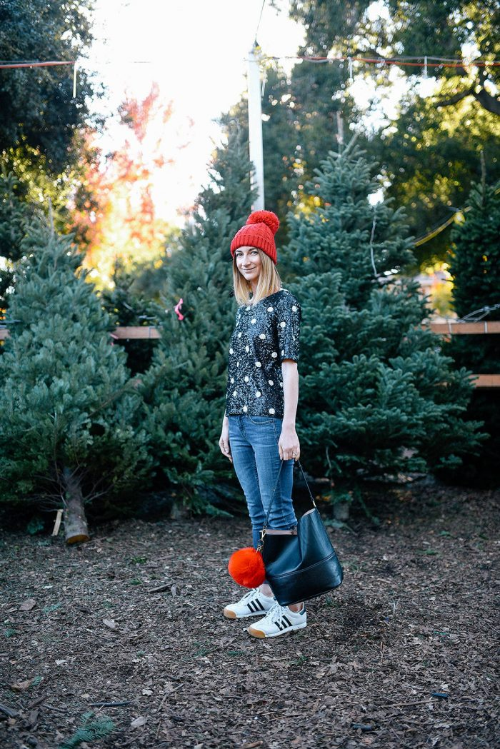 jcrew-sequin-polka-dot-shirt-red-pompom-hat