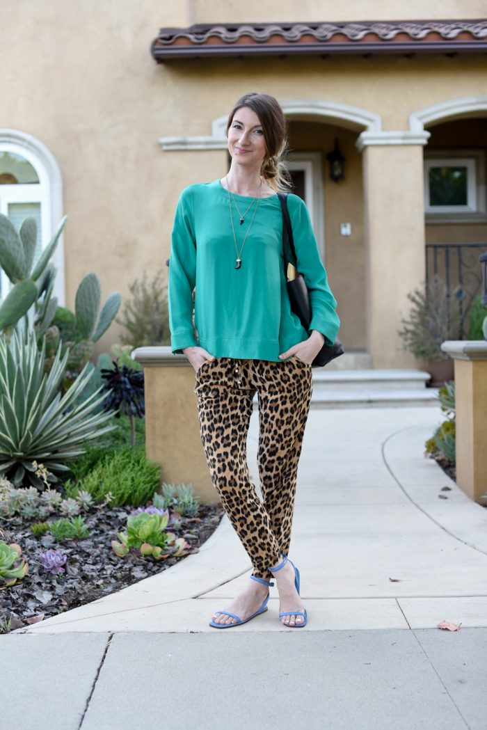 04ca36e3 ThreadUp Outfit: Zara Leopard Print Pants + J.Crew Bright Green Top ...