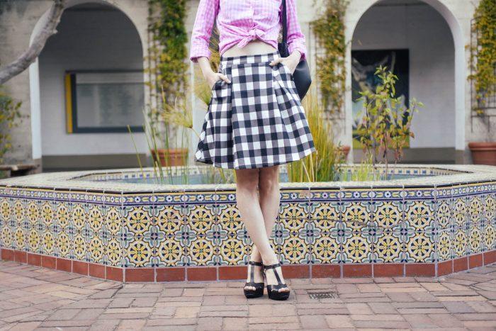 Gingham-Scuba-Skirt-Mix-Pattern-2