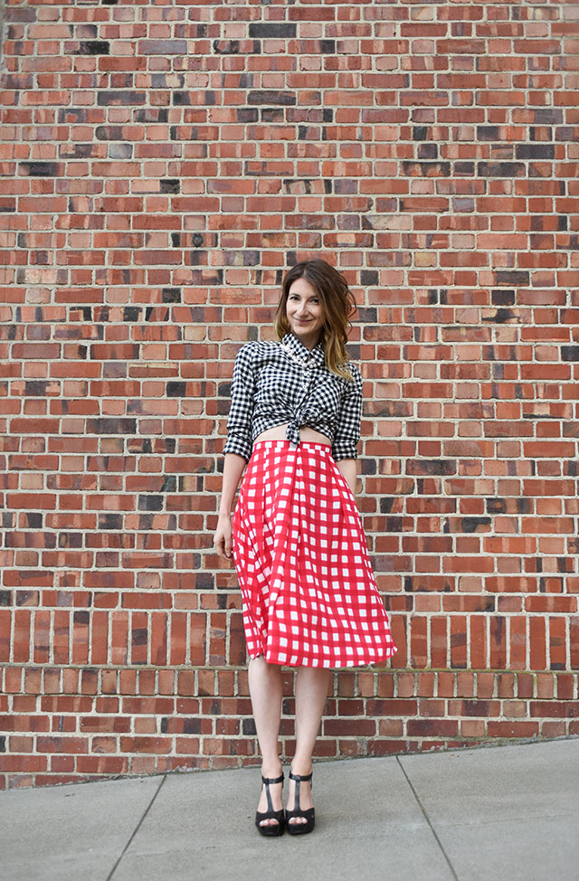 Red-Check-Pleated-skirt-outfit-5