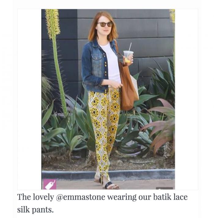 EmmaStone-seaNewYork-batik-lace-silk-pants