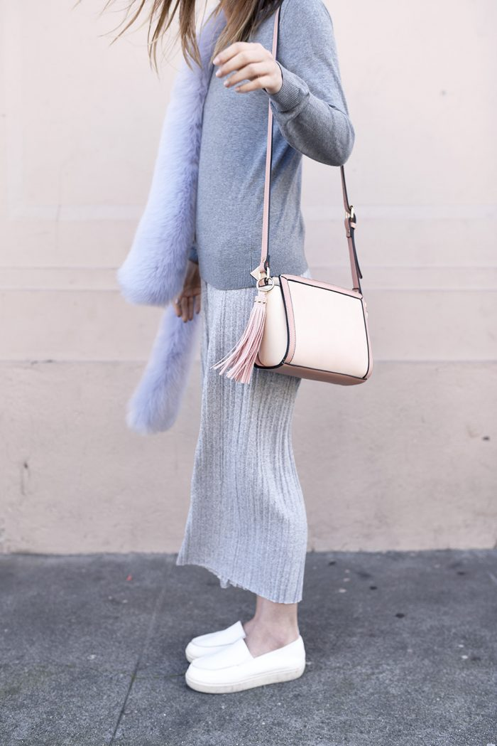 light-gray-culottes-fur-scarf-blush-baby-pink-outfit5