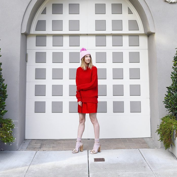 all-red-outfit-jcrew-pink-pompomhat