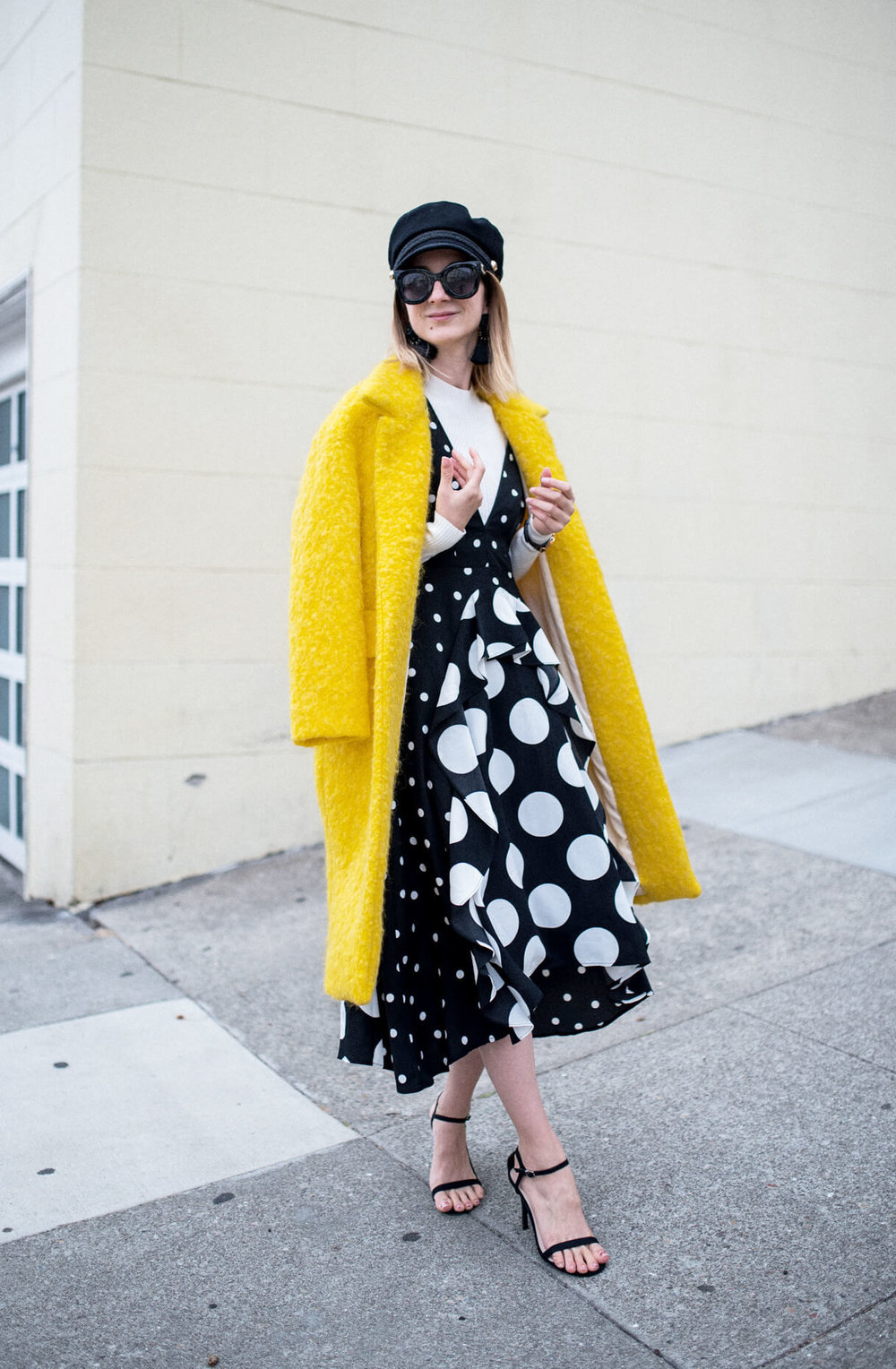 Topshop-Petite-Spot-Pinafore-Dress-Yello-WoolCoat.jpg