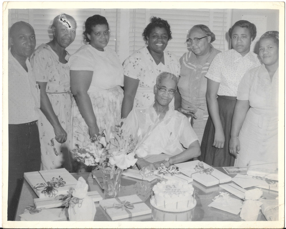 P. M. Smith and administrative staff on his 81st birthday in 1957.