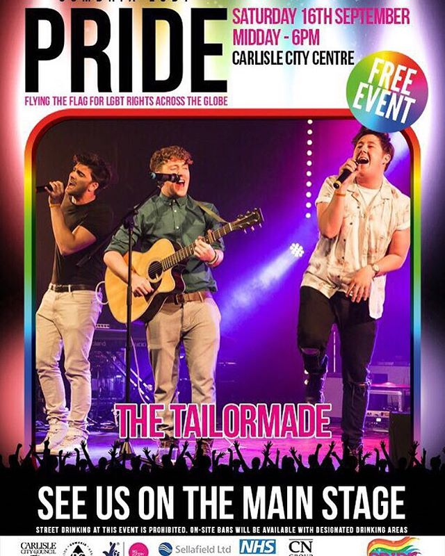 You can see us in the main stage for Cumbria Pride! Cannot wait to get back to Carlisle