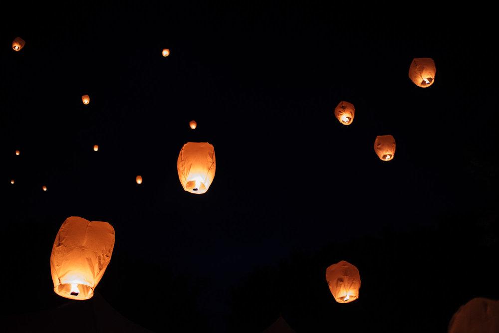 Floating Chinese lanterns