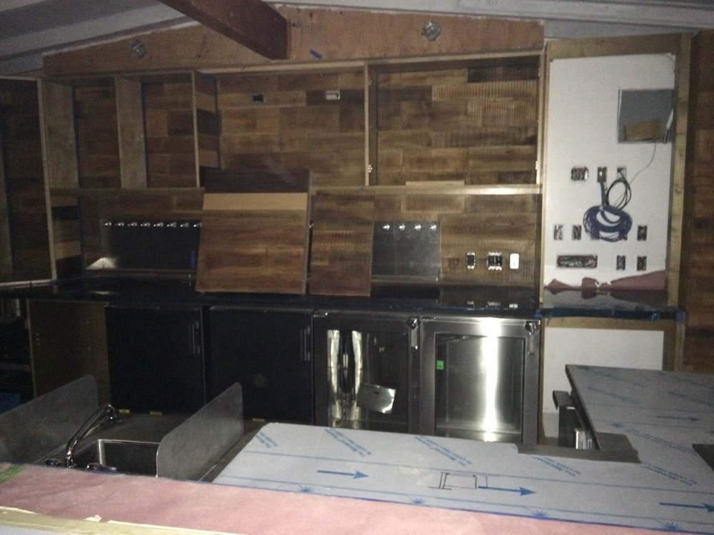 Hand built back bar and cabinets