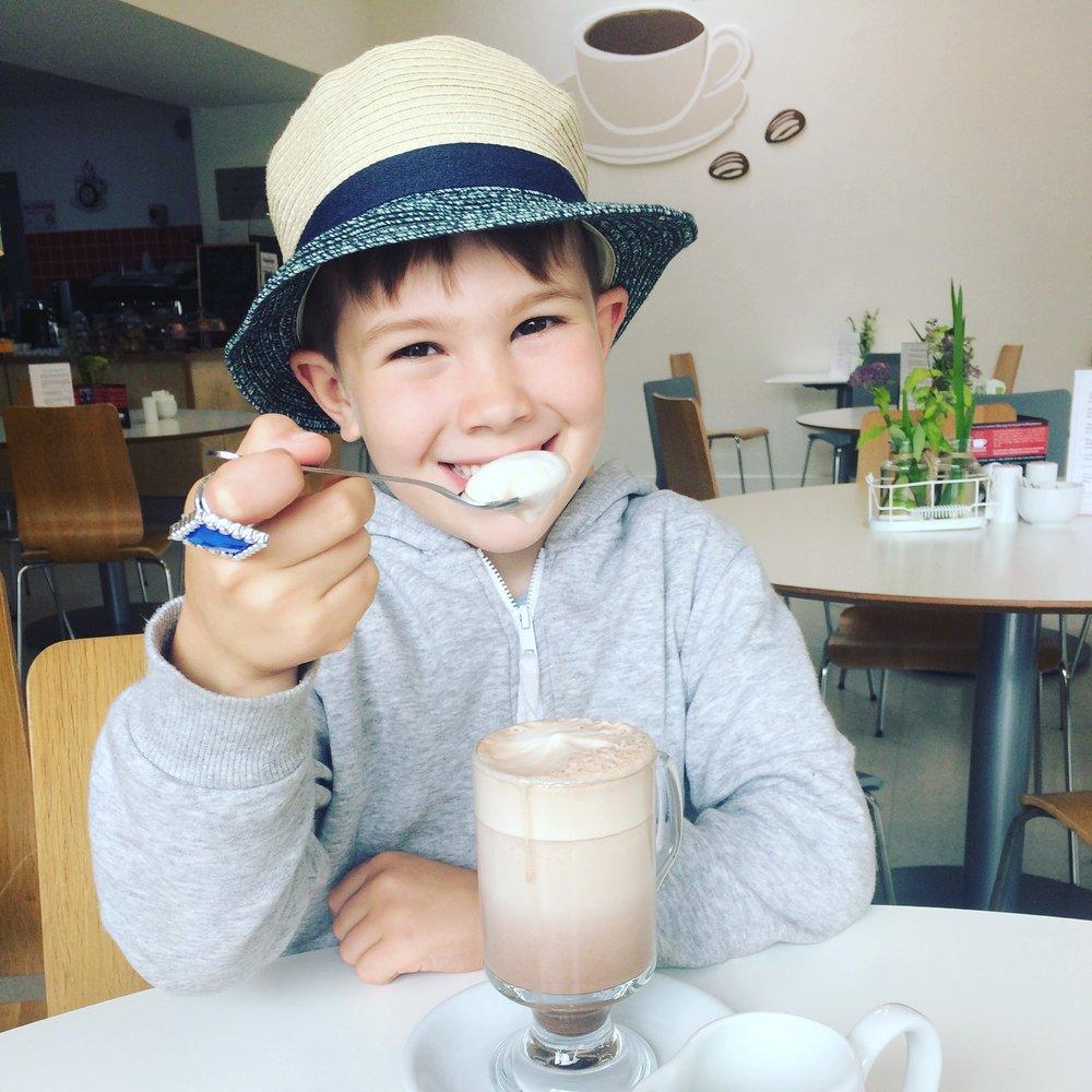 Ben eating icecream at Delta Sensory Gardens