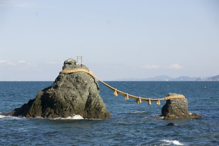 meoto-iwa, The Wedded Rocks, a sacred site in Japan depicting the marriage of two gods. Yeesh...way too good,