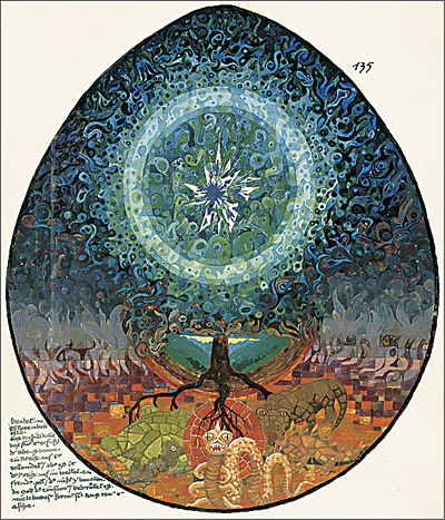 Axis Mundi  as World Tree from C. G. Jung's  Red Book: Liber Novus.