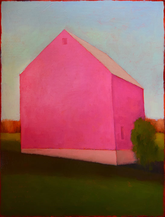 "The Big Pink No.2 48 x 36"" Oil on Wood Panel 2017"