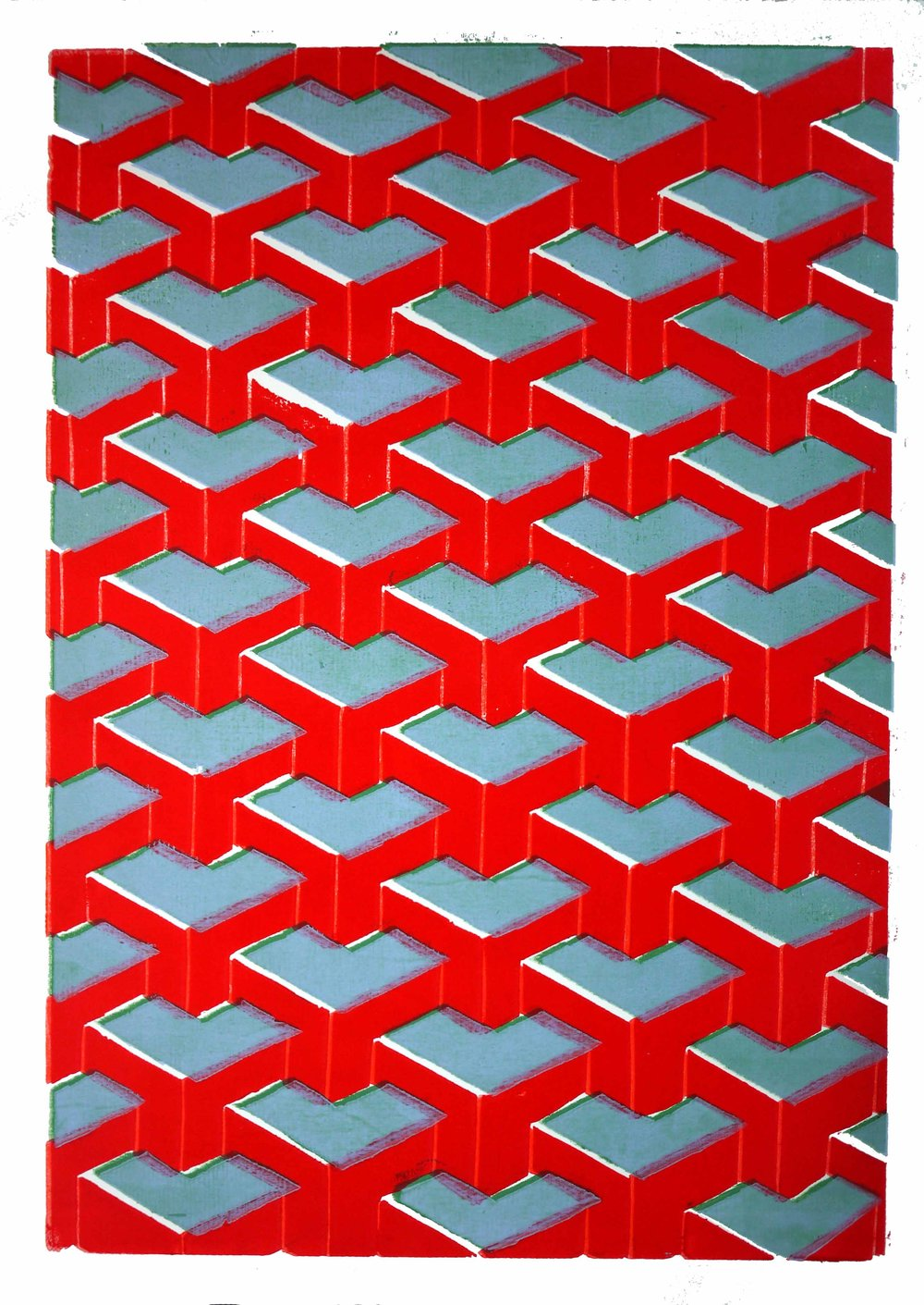 "Pattern Chevron Orange Wood Block Color 23 x 29"" 2017 $350"