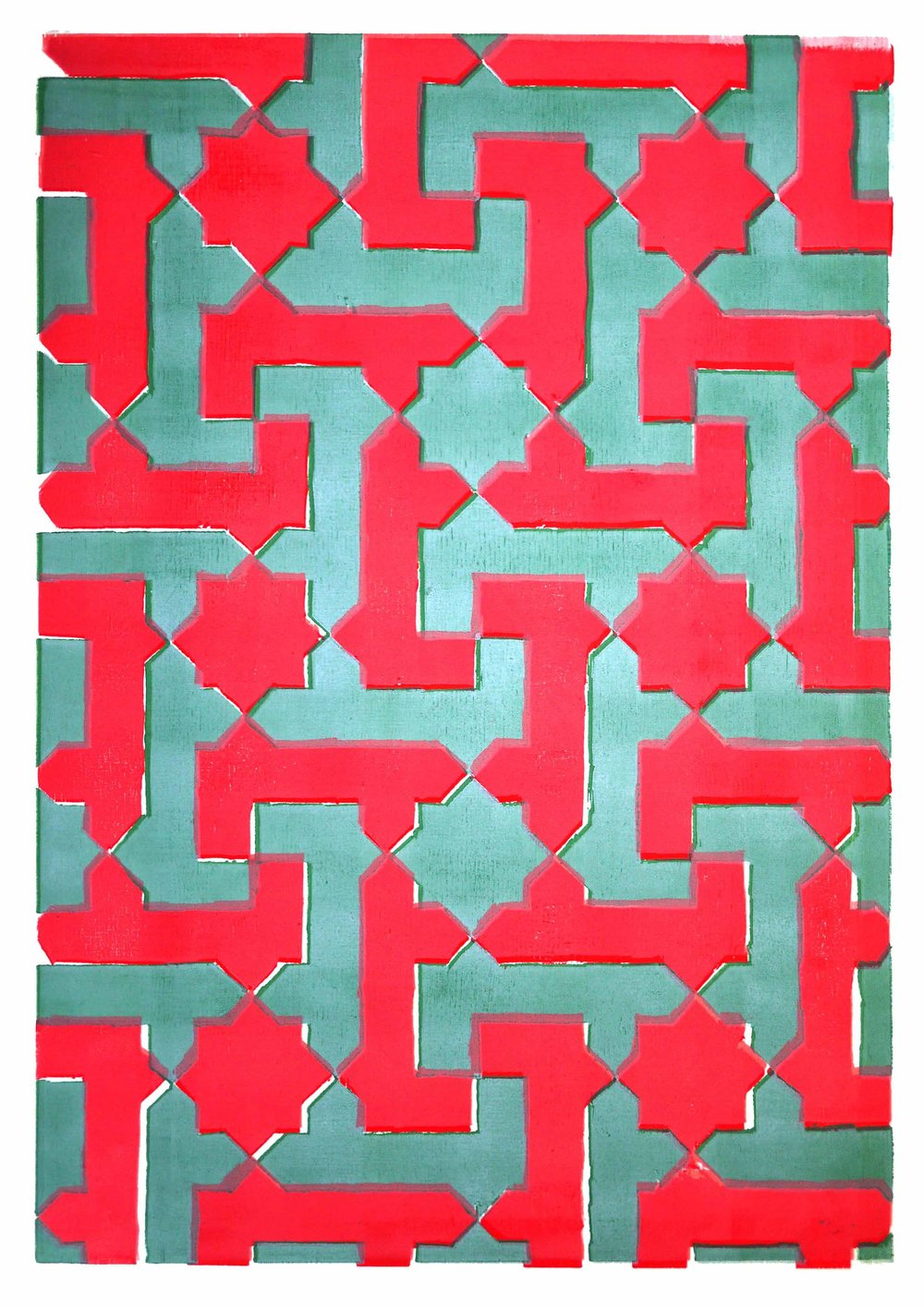 "Pattern Maze Wood Block Color 23 x 29"" 2017 $350"