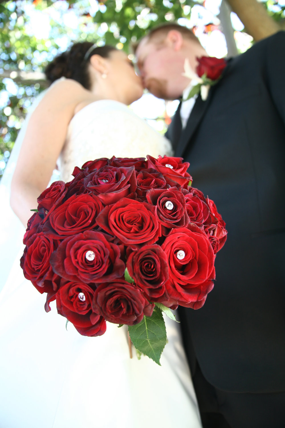Red roses and boutonniere