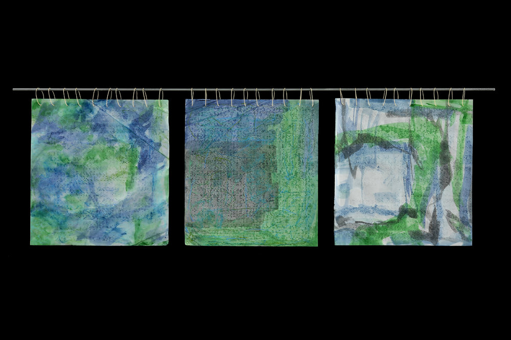 Braille Tapestry VII, 2014, Beeswax, watercolor, crayon on paper, fiberglass, waxed linen thread, 13 x 36""