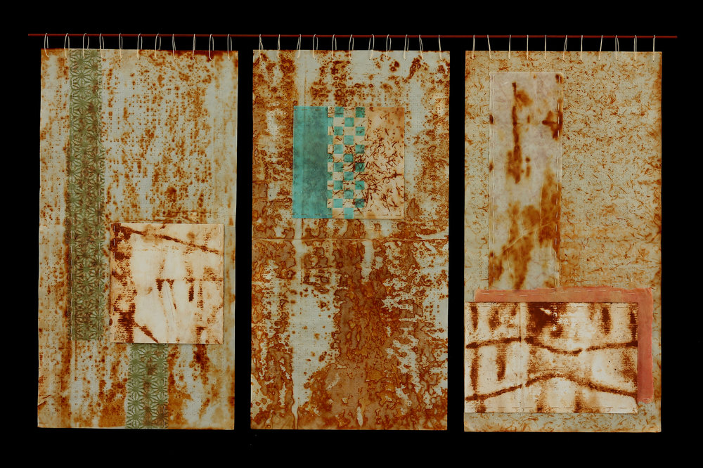 Braille Tapestry VI, 2014, Beeswax, rust transfer, stitched collage on paper, steel, waxed linen thread, 25 x 36""