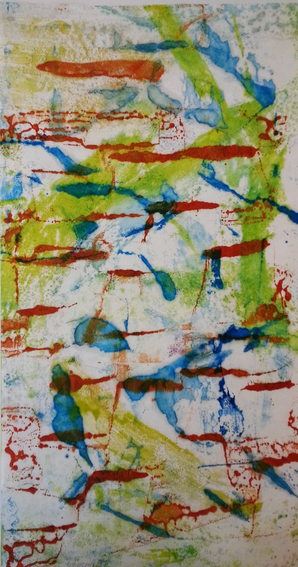 Submerge #8, 2015, Encaustic monotype, 20 x 11""