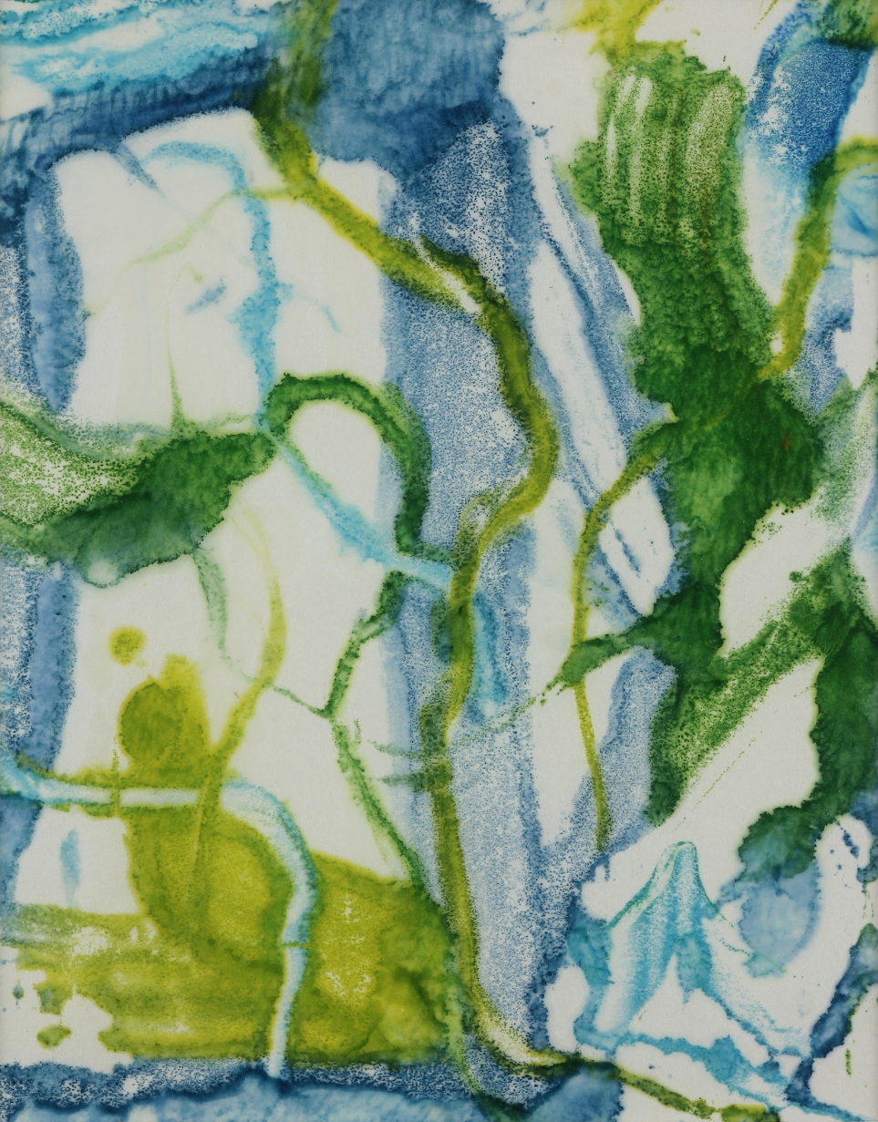 Inundation #1, 2014, Encaustic monotype on Kozo, 11 x 9""
