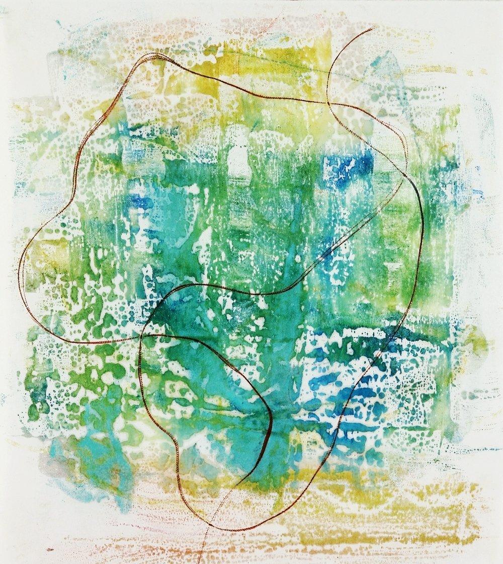 "Illumine #1, 2015, Encaustic monotype on Masa, 15 x 14"""