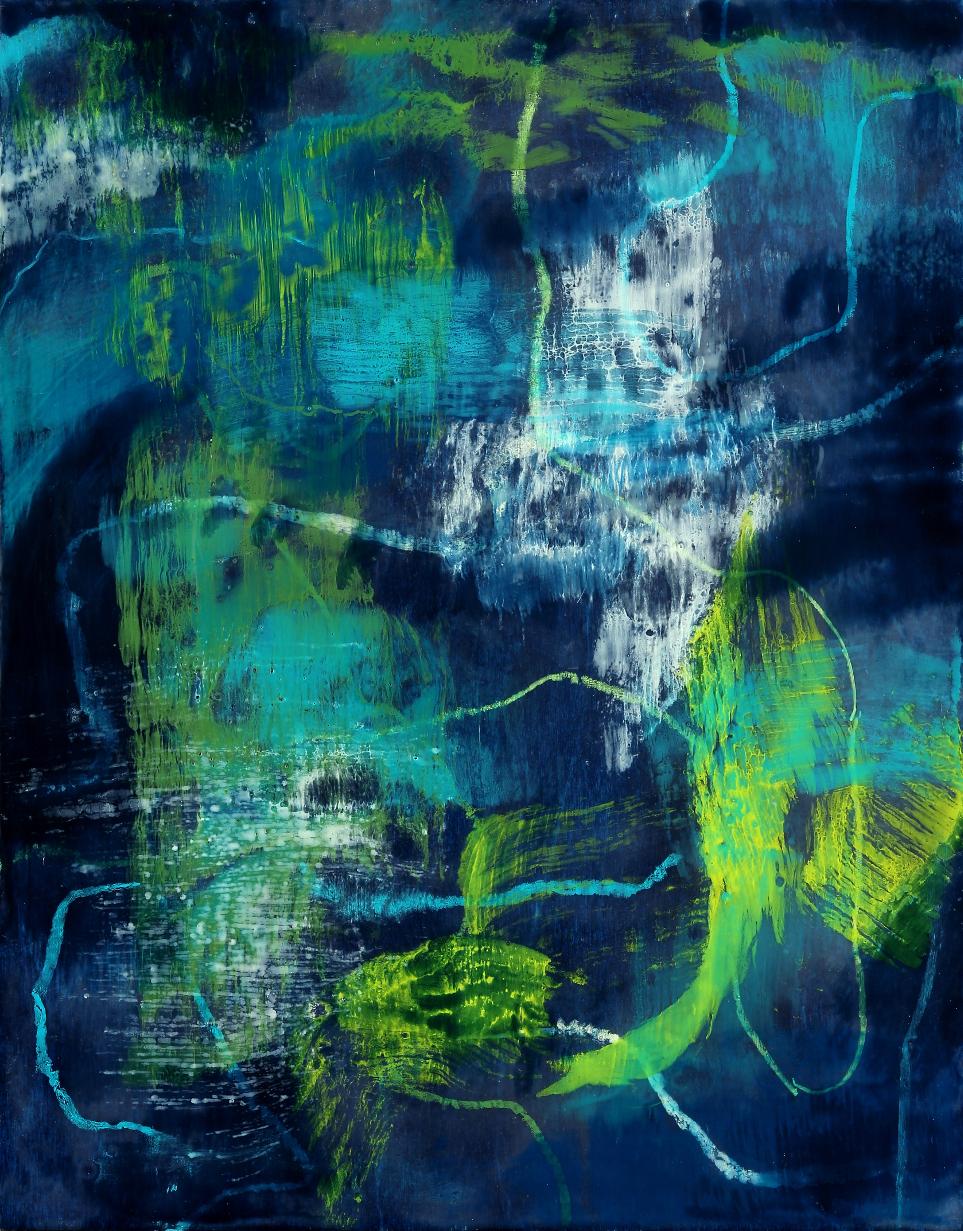 "Waterworld #1, encaustic, 14 x 11"" Original price $500; now $175"