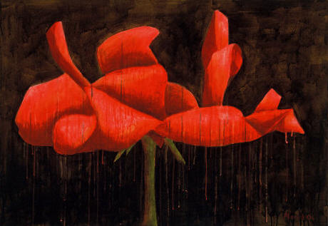 """Rose, acrylic, 28 x 40"""" Original price $1500; now $475"""