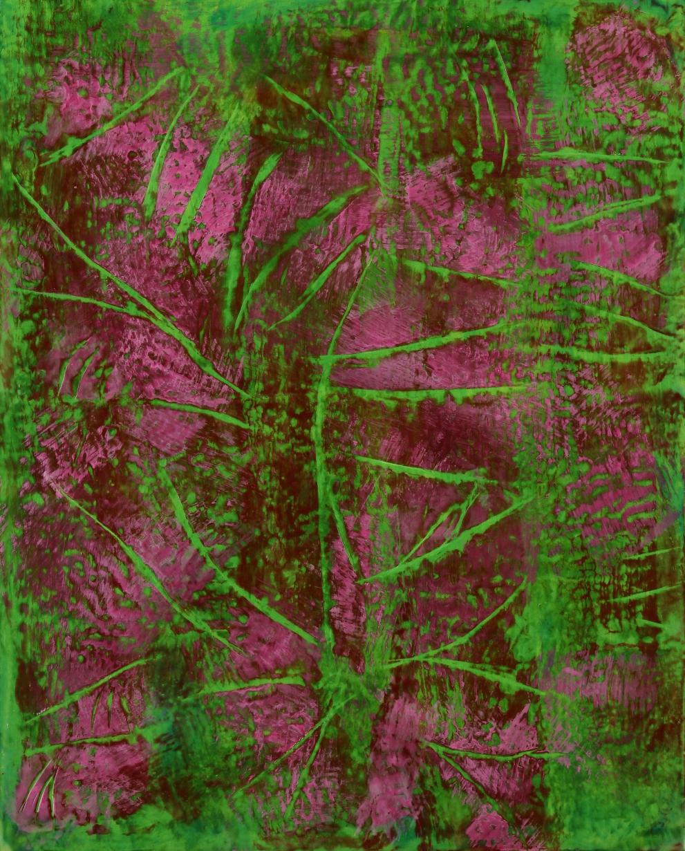 """Undergrowth 4, encaustic, 20 x 16"""" Original price $800; now $275"""