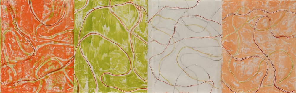 Line Work Sequence #3, 2016, Encaustic monotypes, 14 x 44""