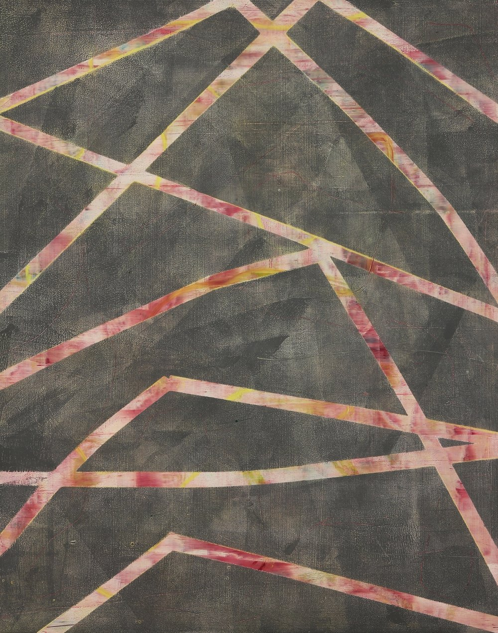 Cat's Cradle #1, 2016, oil, wax, mixed media on panel, 20 x 16""