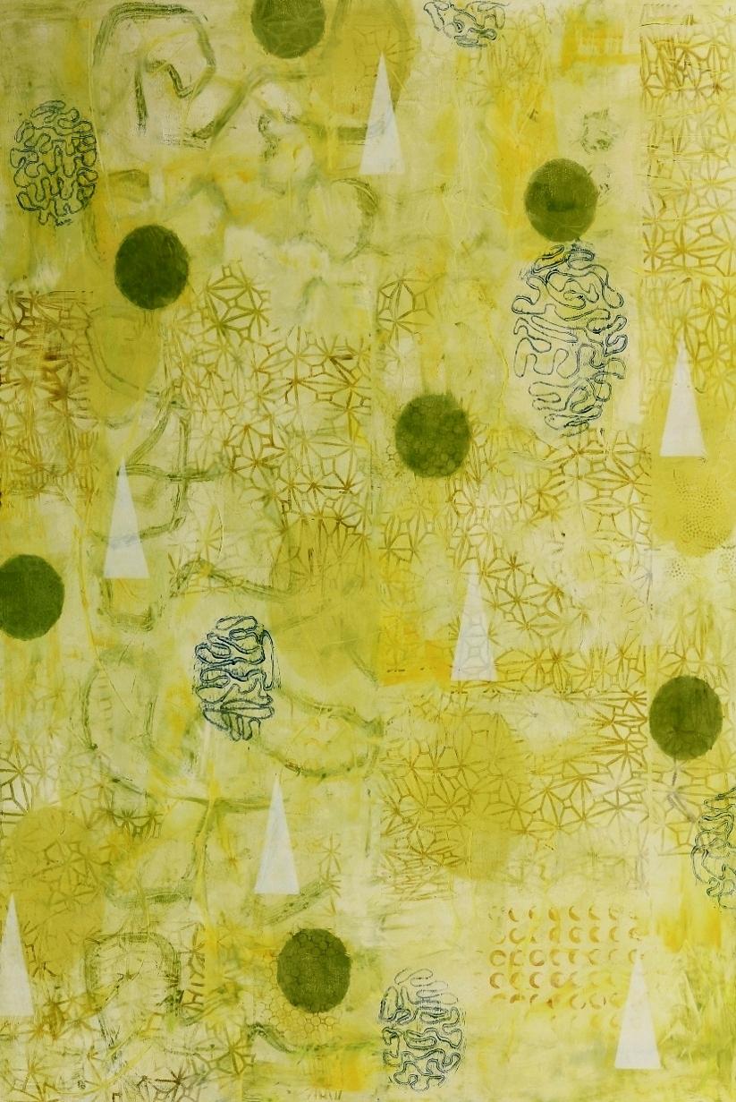 "Float #9, 2016, oil, wax, mixed media on panel, 36 x 24"""