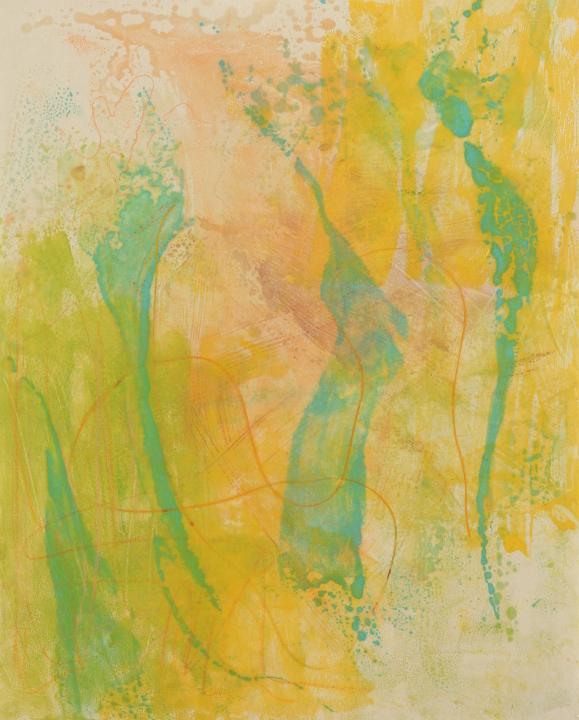 "Tomar el Sol #8, 2017, Encaustic monotype on Kitakata , 20 x 16.5"""