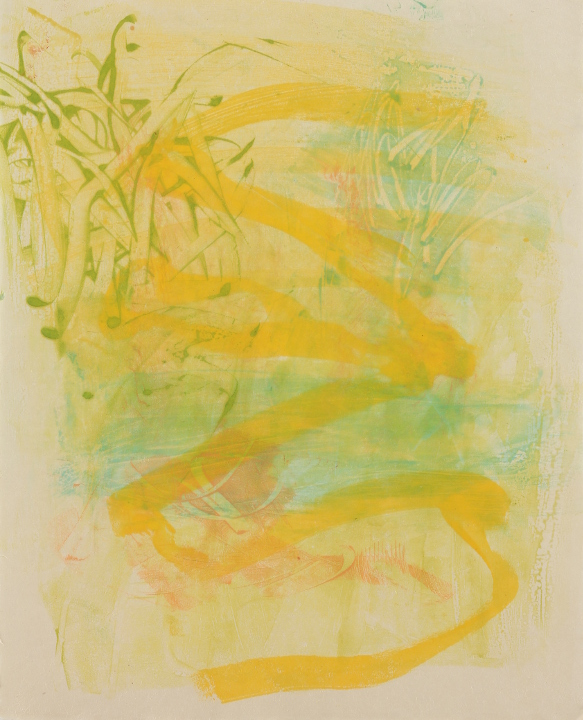 "Tomar el Sol #6, 2017, Encaustic monotype on Kitakata, 20 x 16.5"""