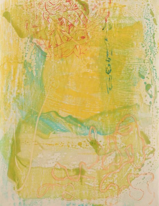 "Tomar el Sol #15, 2017, Encaustic monotype on Shikoku , 19.5 x 15"""