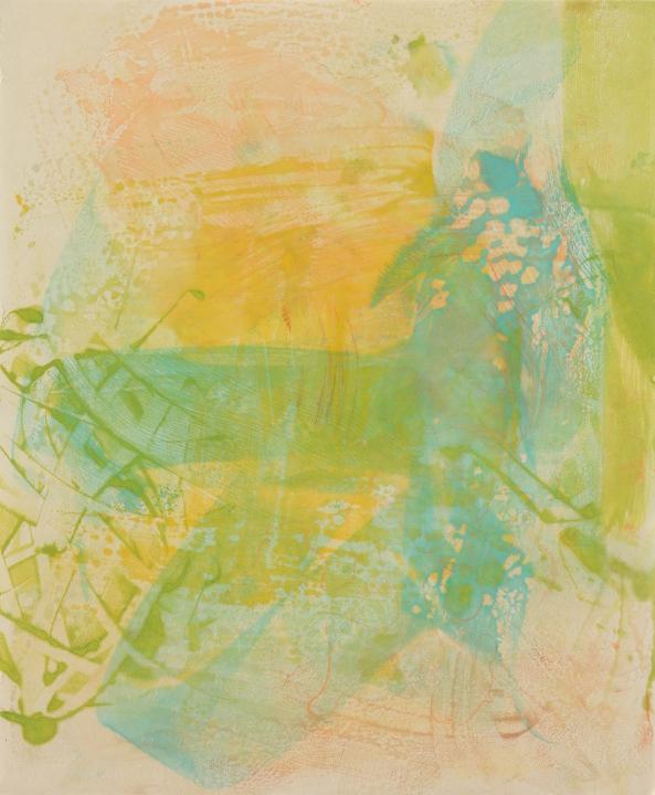 "Tomar el Sol #9, 2017, Encaustic monotype on Kitakata , 20 x 16.5"""