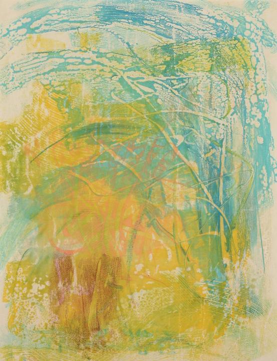 "Tomar el Sol #17, 2017, Encaustic monotype on Shikoku , 19 x 15"""