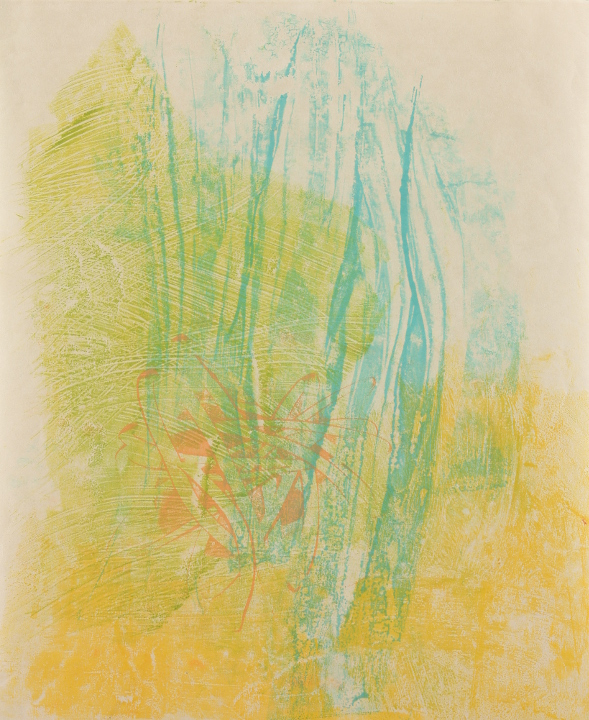 "Tomar el Sol #11, 2017, Encaustic monotype on Shikoku , 19.5 x 16"""