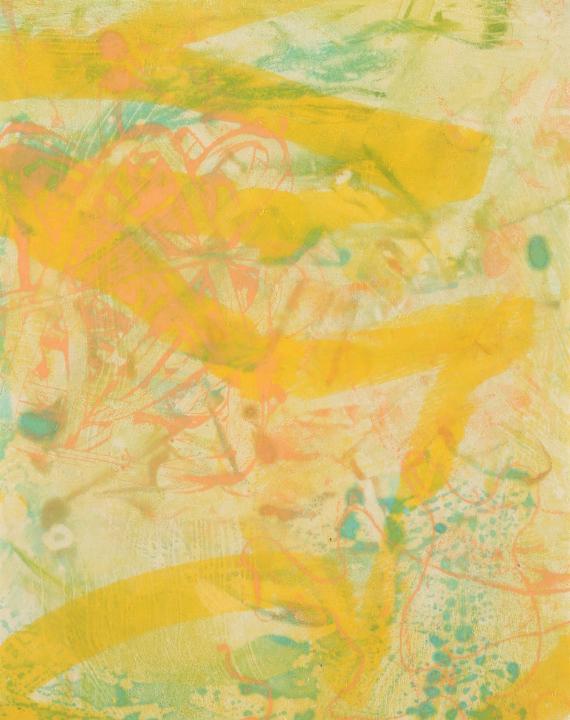 "Tomar el Sol #19, 2017, Encaustic monotype on Kitakata , 14 x 11"""