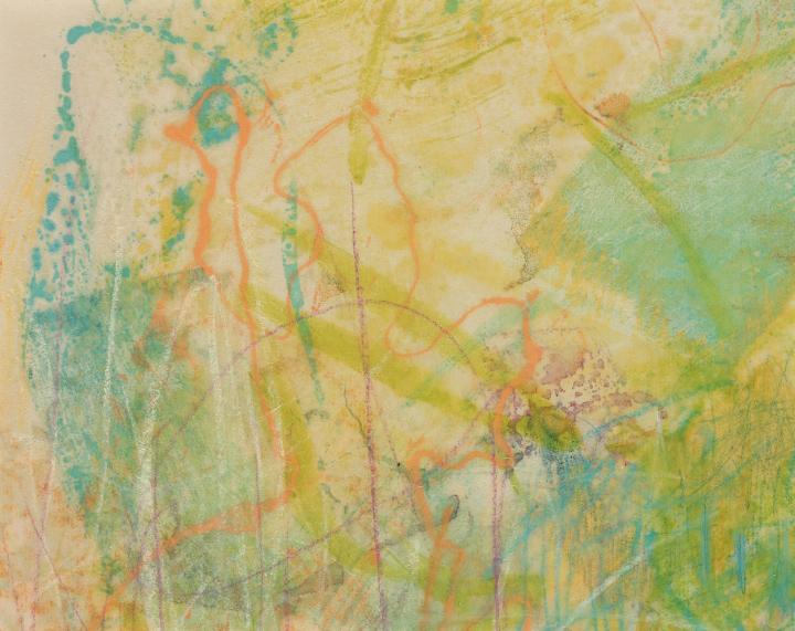 "Tomar el Sol #20, 2017, Encaustic monotype on Kitakata, 8 x 10"""