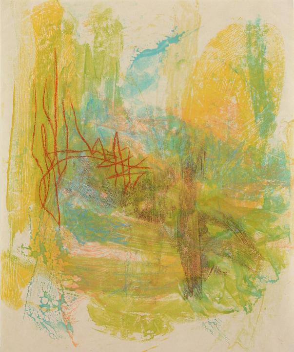 "Tomar el Sol #12, 2017, Encaustic monotype on Shikoku , 19.5 x 16"""