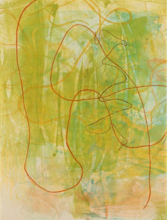 "Tomar el Sol #18, 2017, Encaustic monotype, crayon on Kitakata ,15.5 x 12"""