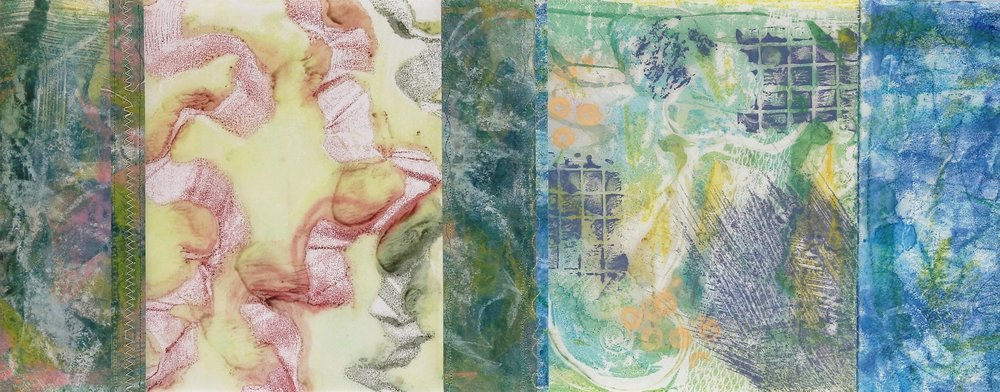 Joined Monotype #4, 2015, Encaustic monotype on various papers, thread, 11 x 28""