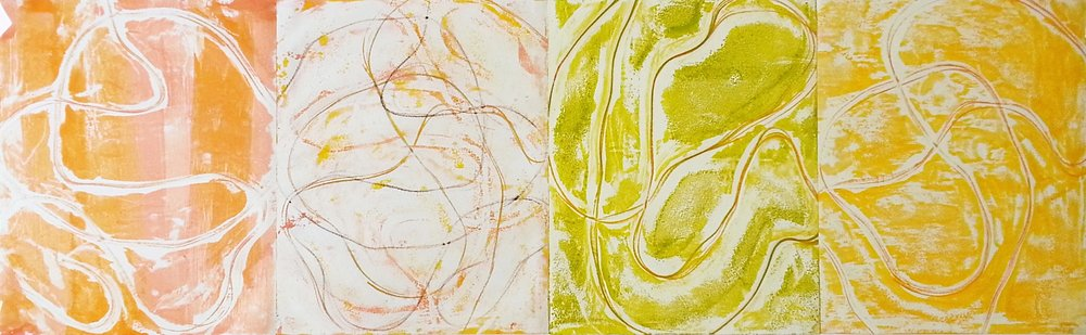 Line Work Sequence #2, 2016, Encaustic monotypes on various papers, 10 x 32""
