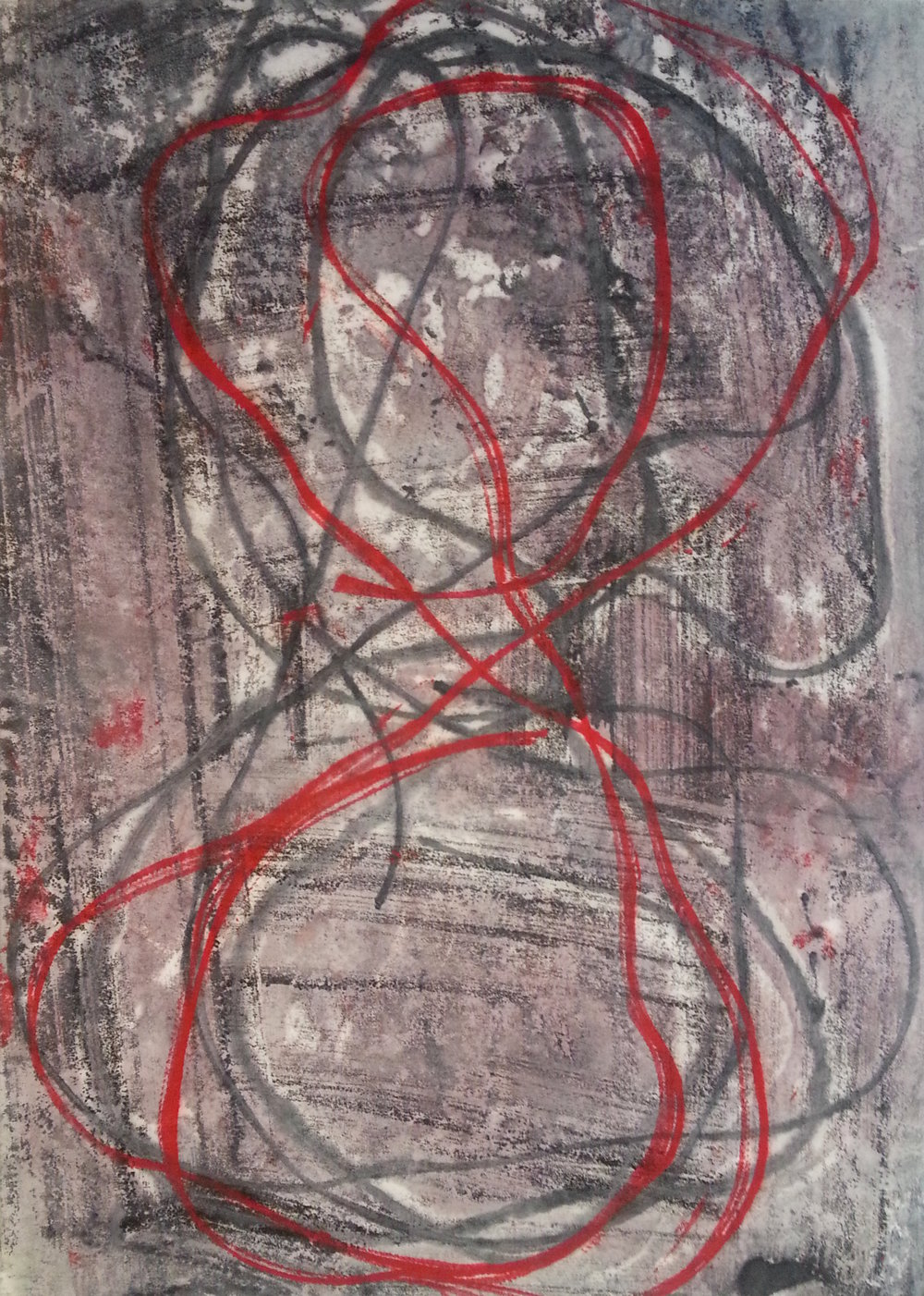 Line Work #7, 2014, Encaustic monotype, 11 x 8""