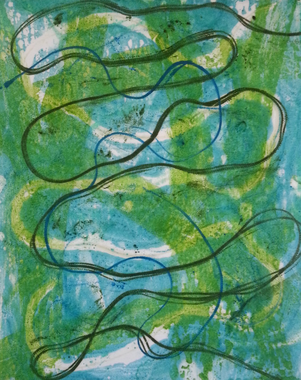 Line Work #12, 2014, Encaustic monotype, 10 x 8""