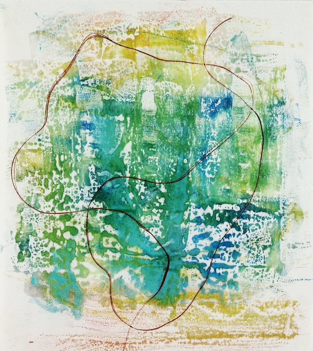 Illumine #1, 2015, Encaustic monotype on Masa, 15 x 14""