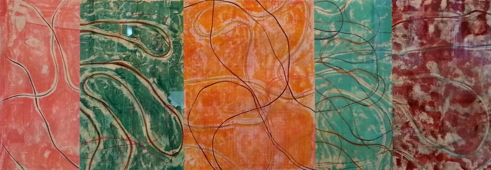 Line Work sequence #1, Encaustic monotype, 10 x 28""