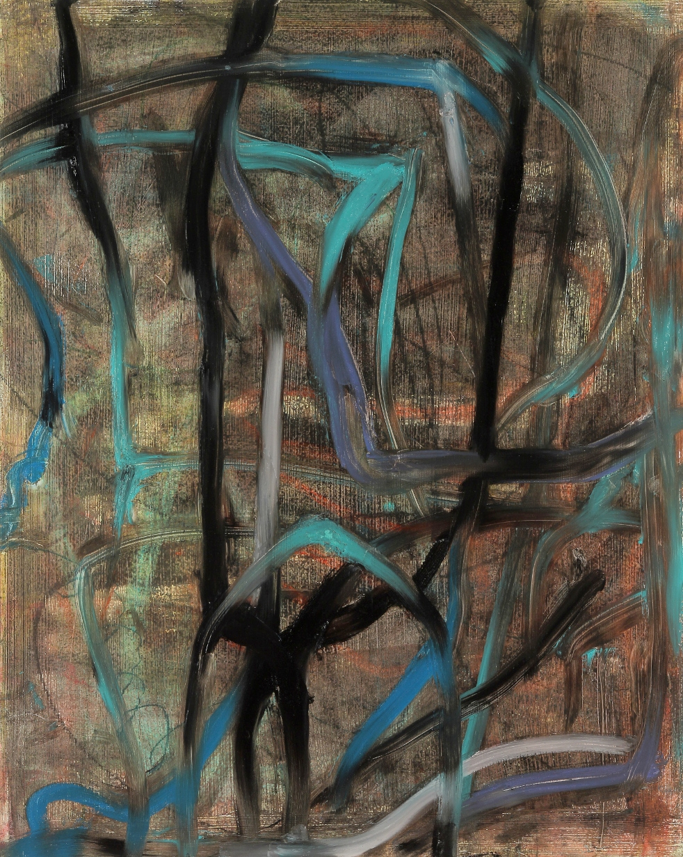 Entanglements #1, 2015, oil, wax, mixed media on panel, 20 x 16""